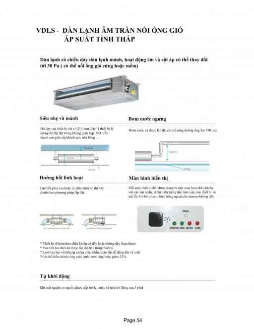Dàn lạnh âm trần nối ống gió áp suất tĩnh thấp  VDLS-10, VDLS-12,VDLS-16, VDLS-18,VDLS-20