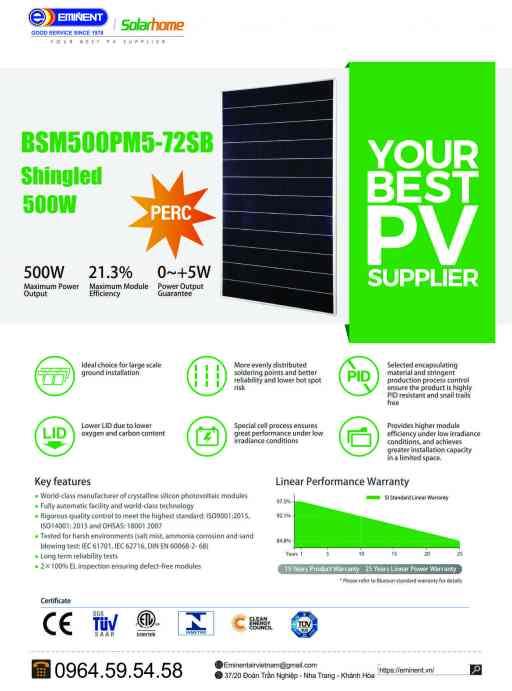 Tấm Pin Solar EMINENT BSM500M-72HPH - Shingled